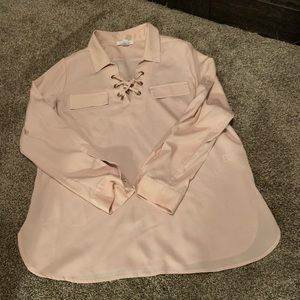Women's satin blouse with lace ties